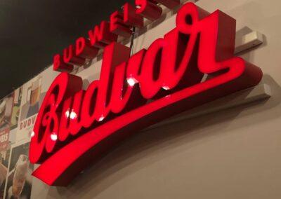 Build Up 3D Facelit Lettering Sign for Budvar