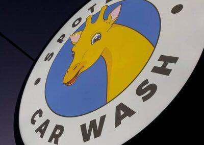 Illuminated Roadside Sign for Local Hand Car Wash
