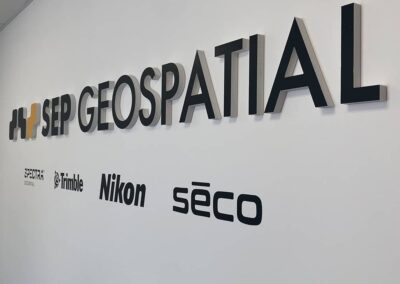 Raised Lettering on Office Wall for SEP Geospatial