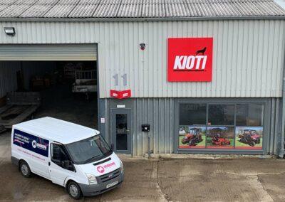 Signage on Kioti UK new UK office including window graphics