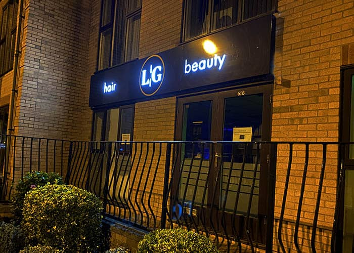 Backlit sign tray for Lash and Glo in Cambridge