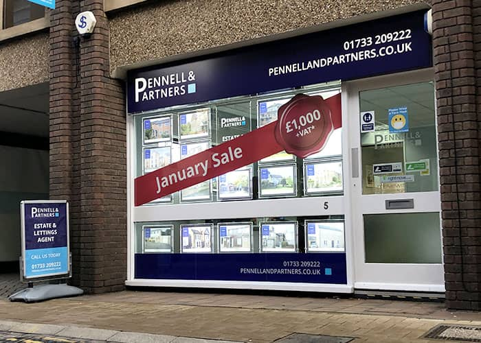 Sale Window Graphics in Peterborough Estate Agents