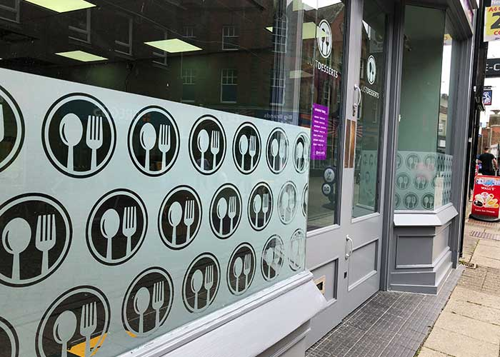 Frosted Window Graphics | Window Frosting for Just Desserts in Kettering