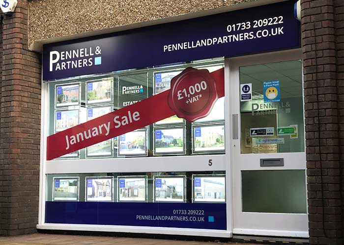 Printed Window Vinyls | Printed Window Graphics for Pennell and Partners in Peterborough